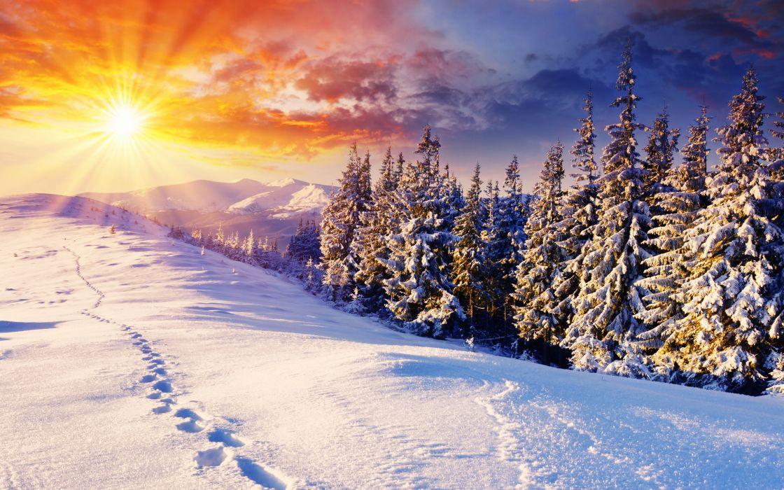 Sunset mountains clouds landscapes nature winter snow trees skyline hills sunlight footprint wallpaper