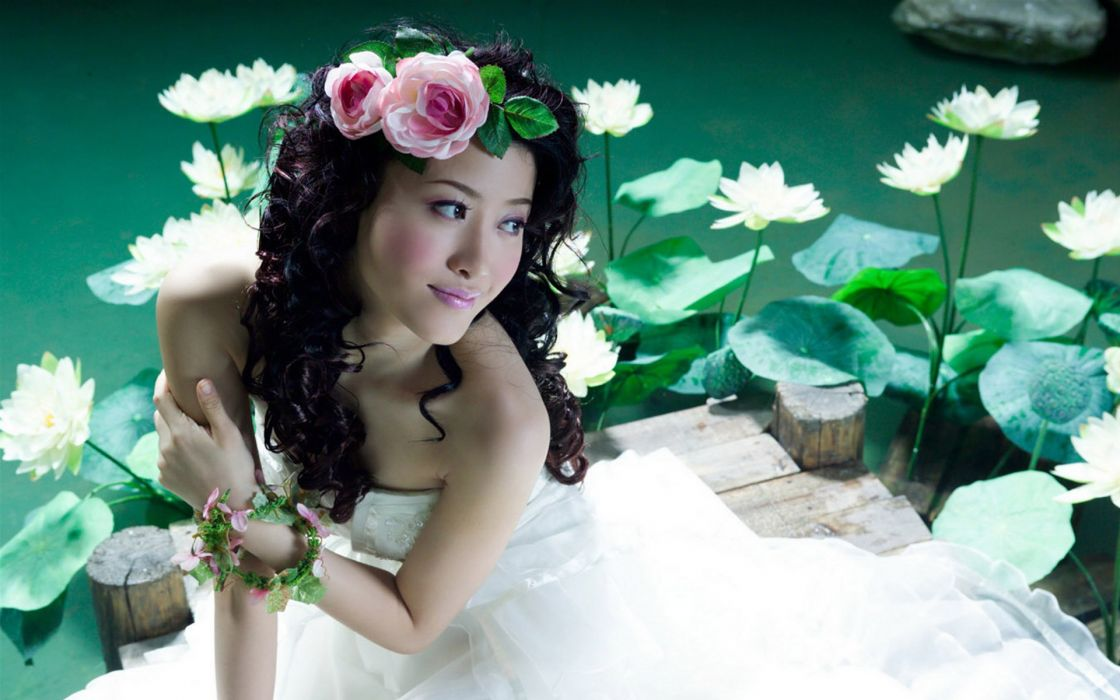 Women water bride asians lotus flower flower in hair wallpaper