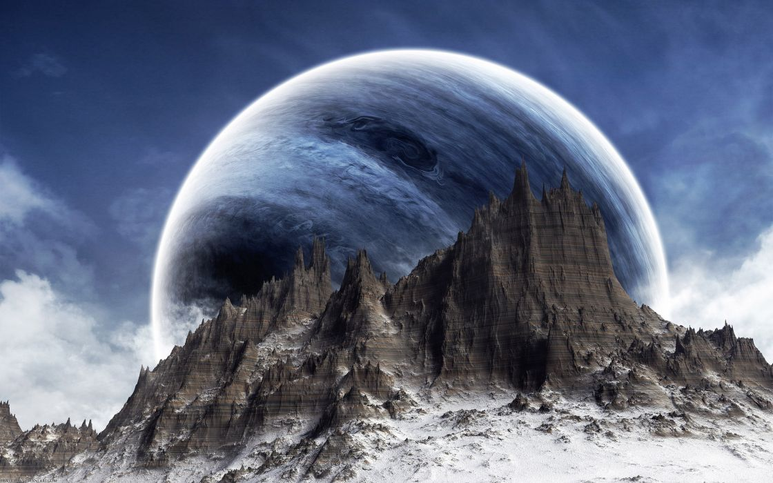 Blue mountains clouds snow planets science fiction wallpaper