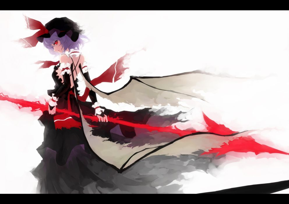 Video games touhou wings dress back weapons vampires purple hair red eyes short hair black dress spears hats remilia scarlet anime girls gungnir white background wallpaper