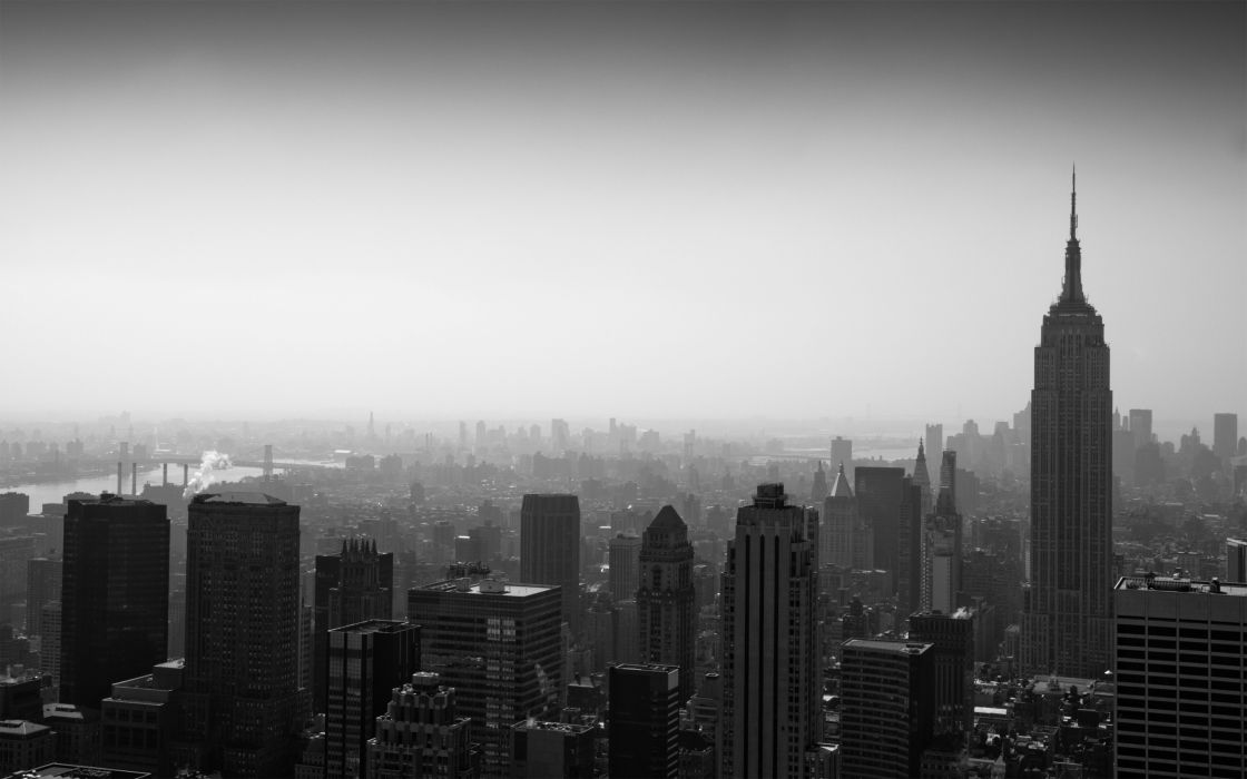 Grayscale panorama cities wallpaper