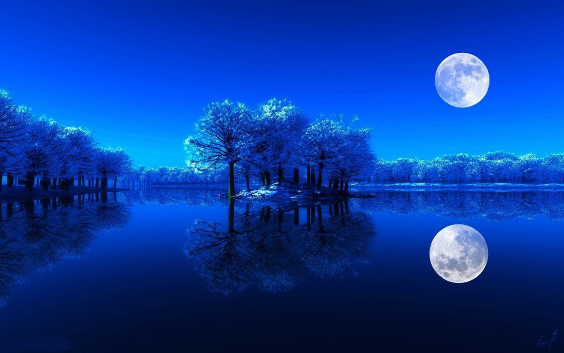 Landscapes night luna wallpaper
