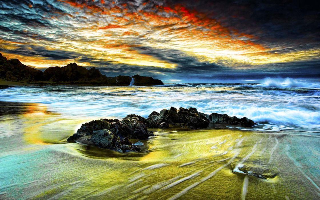 Clouds landscapes beach wallpaper