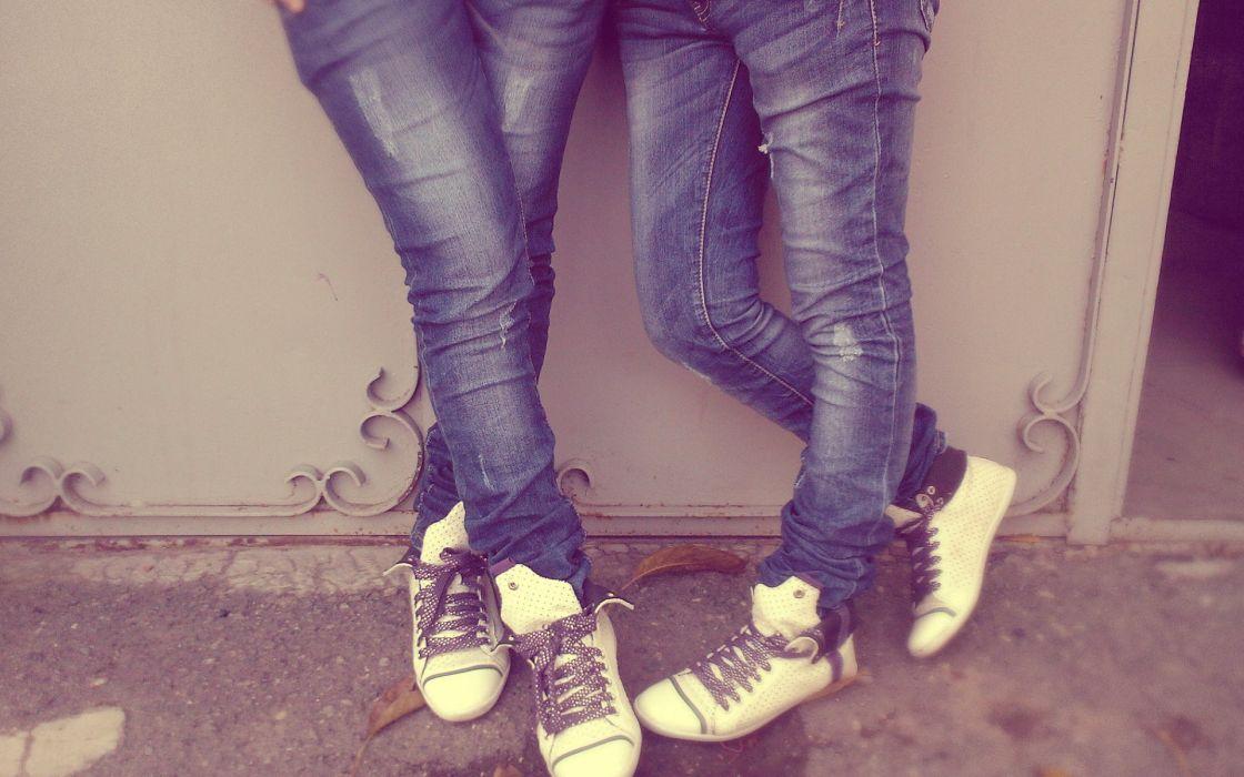 Legs women jeans teen shoes sneakers wallpaper