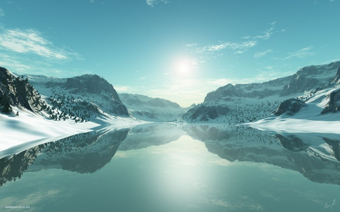 Ice blue landscapes seasons artwork lakes 3d icy wallpaper