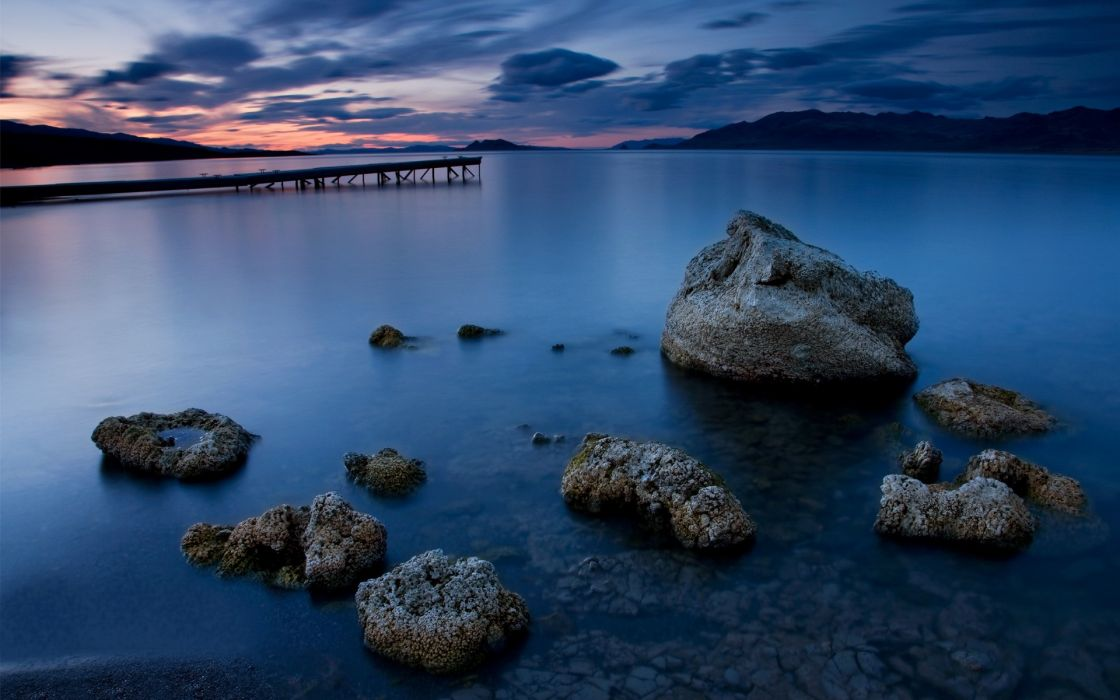 Water landscapes rocks pier lakes hdr photography wallpaper