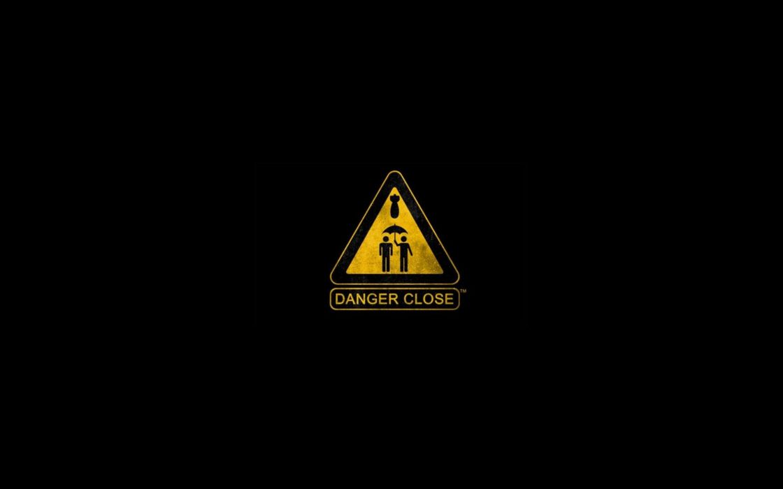 Minimalistic text danger black background sign wallpaper