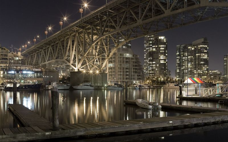 Water cityscapes lights ships bridges buildings vehicles bright cities wallpaper