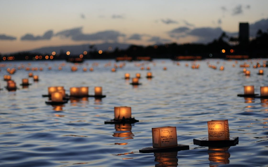 Water sea wish rivers candles wallpaper