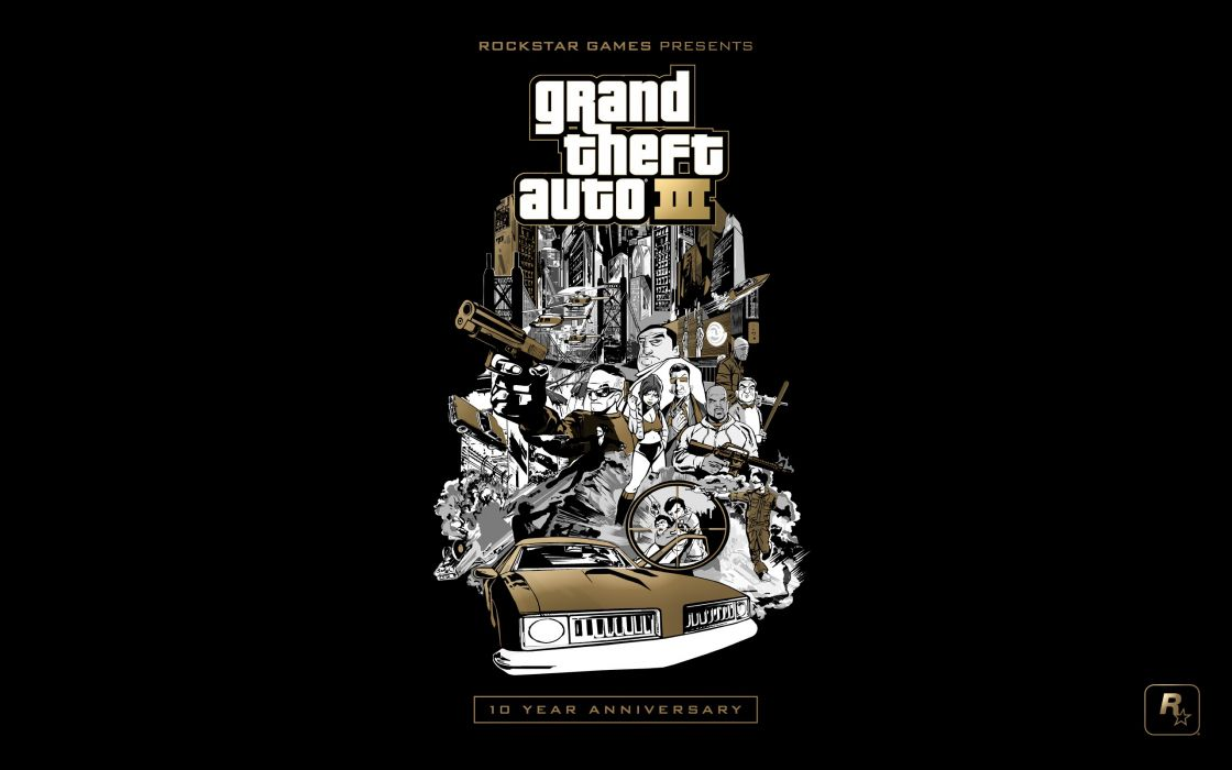 Video games gold grand theft auto euro rockstar games black background grand theft auto iii 10th anniversary wallpaper