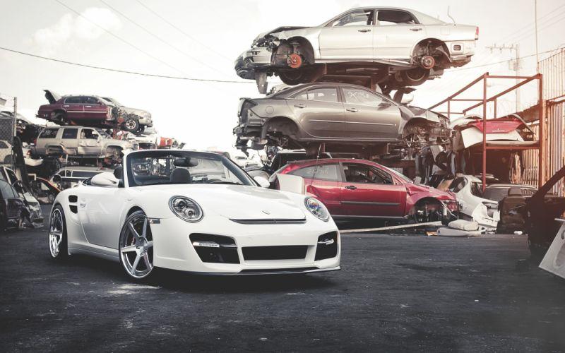 White porsche cars junk wallpaper