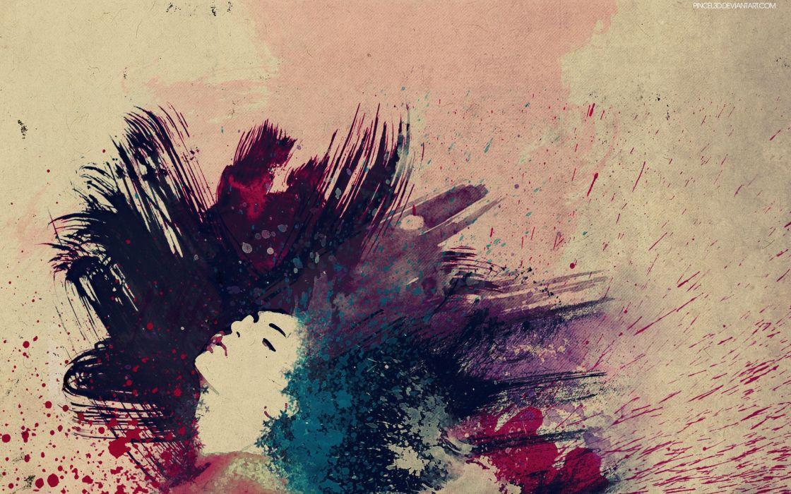 Women abstract paint wallpaper