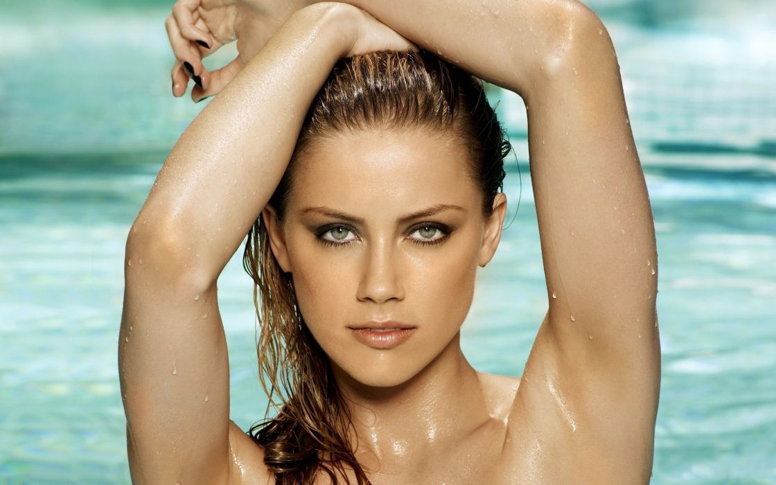 Women actress wet amber heard wallpaper