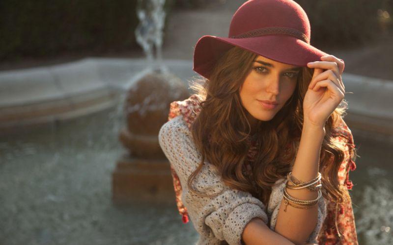 Brunettes women fashion long hair hats wallpaper