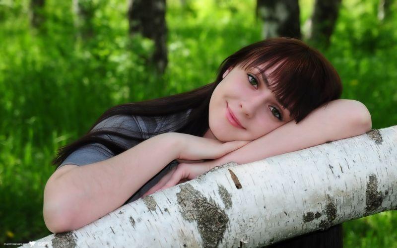 Women smiling birch wallpaper