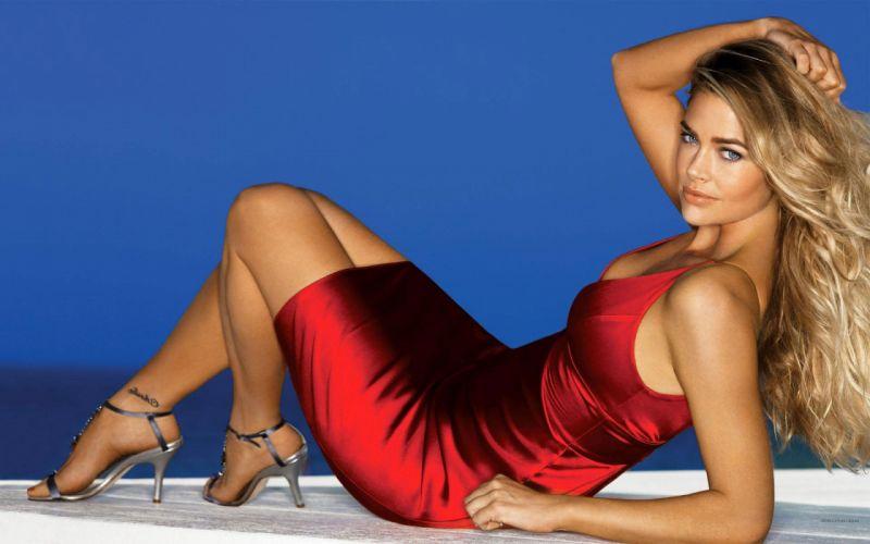 Women high heels denise richards red dress wallpaper