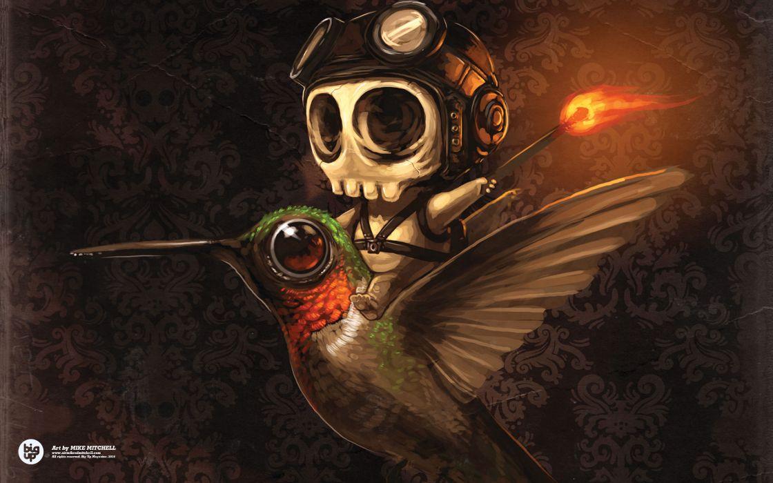 Artwork hummingbirds wallpaper