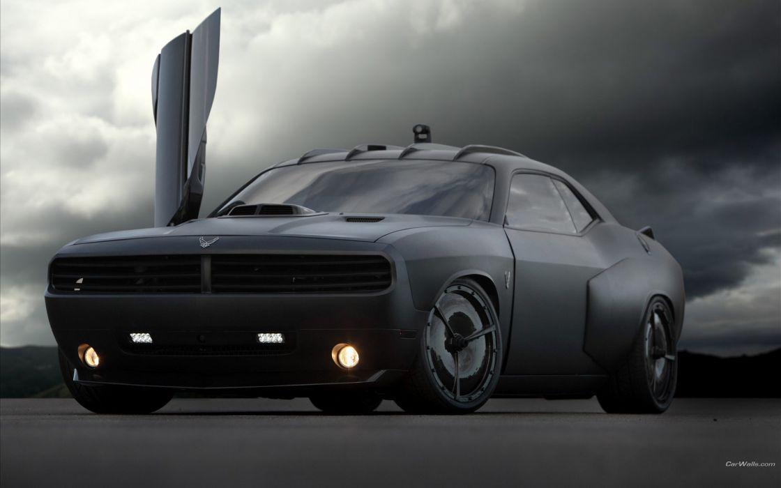 Clouds black cars ride vehicles dodge challenger sport cars wallpaper