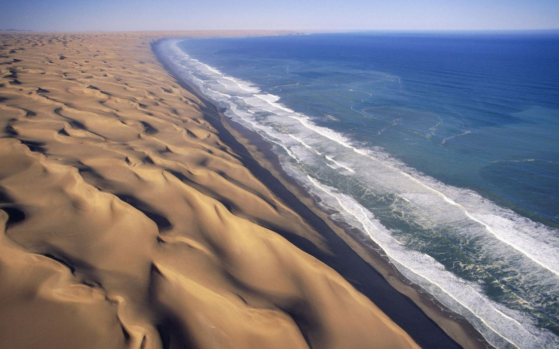 Water landscapes waves sand dunes africa namib desert wallpaper