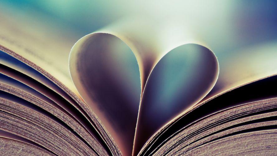 Love books hearts wallpaper