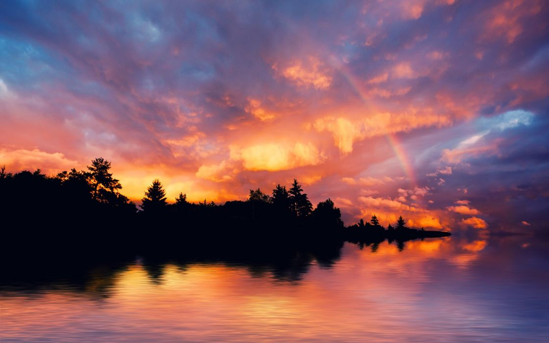 Water sunset sunrise landscapes forest rainbows wallpaper