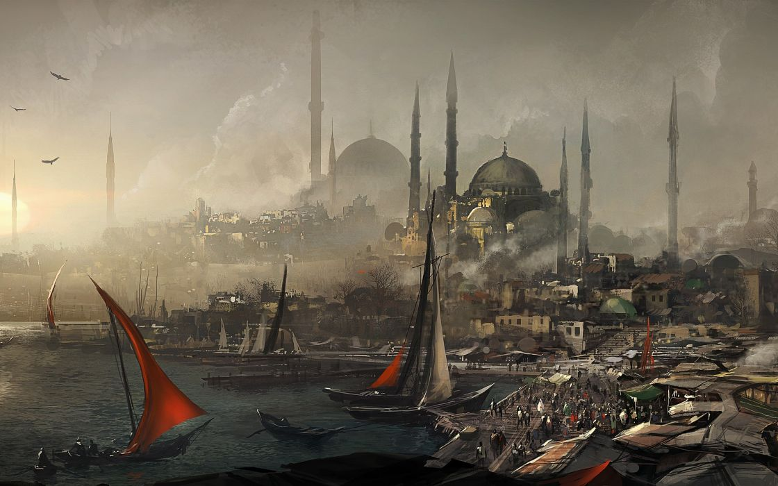 Video games assassins creed cityscapes fantasy art turkey artwork istanbul constantinople wallpaper