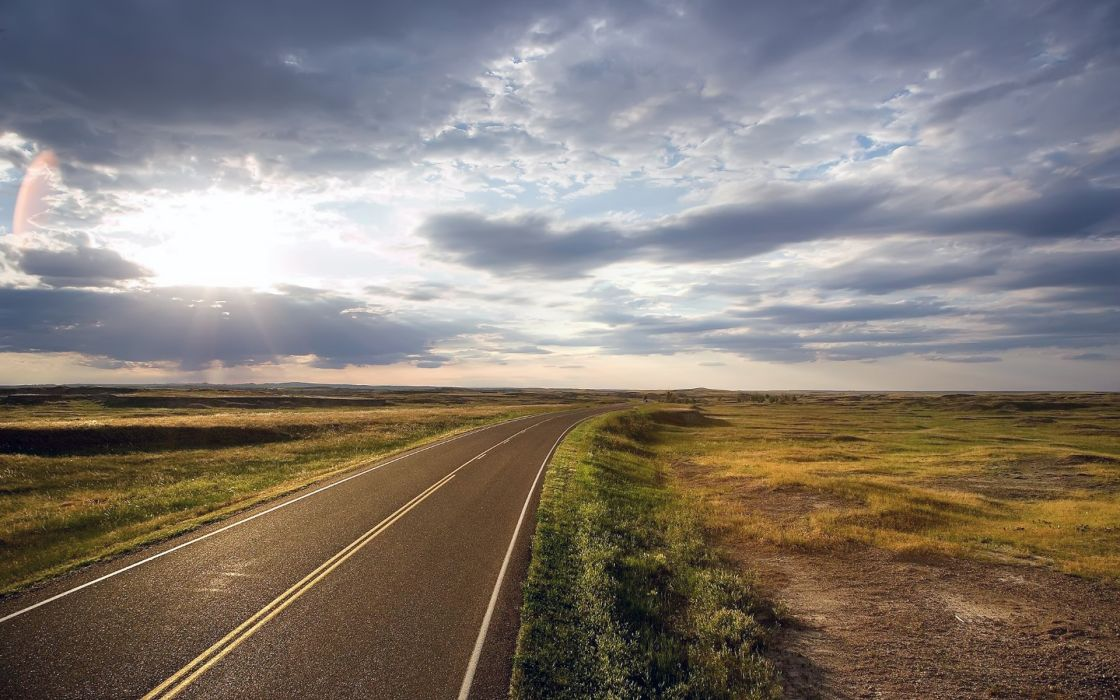 Clouds landscapes roads wallpaper