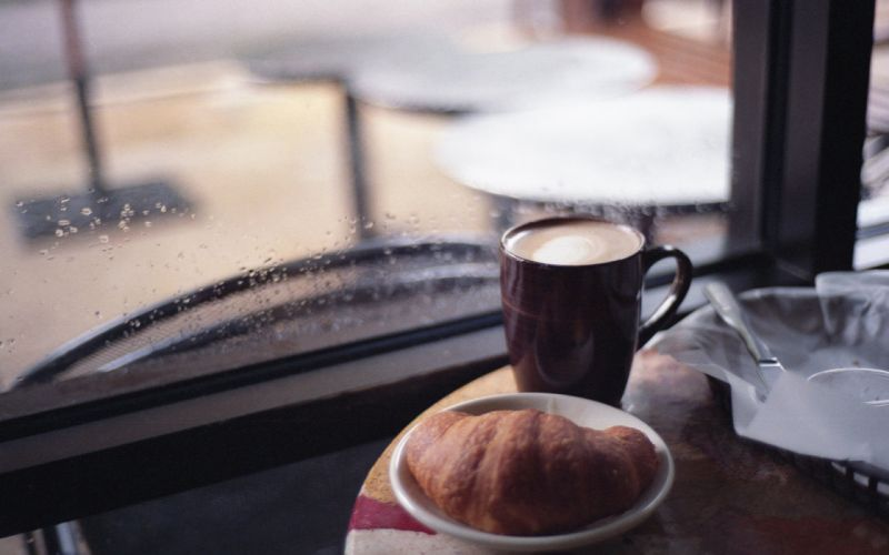 Coffee water drops croissants window panes wallpaper