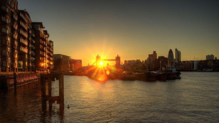 Sunset cityscapes london buildings sunlight tower bridge rivers wallpaper