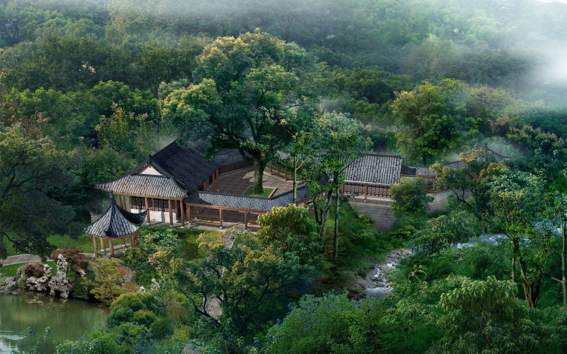 Landscapes nature forest china asian architecture wallpaper