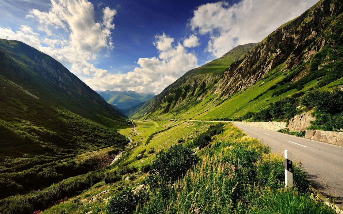 Mountains clouds landscapes nature valley roads wallpaper