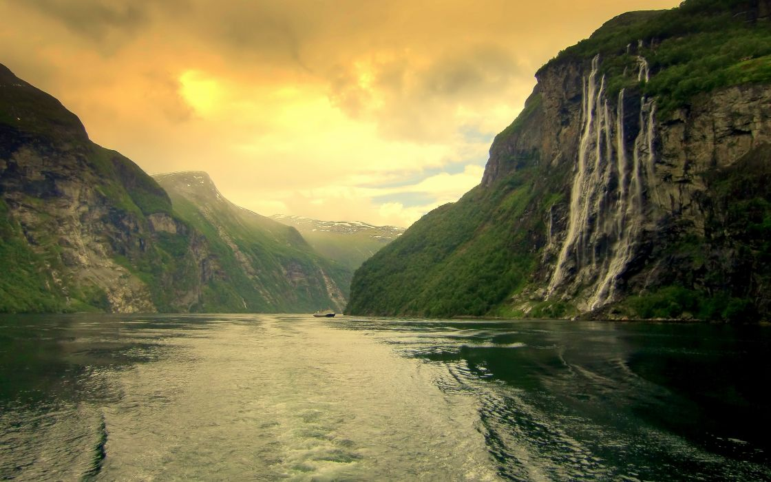 Mountains landscapes norway rivers 7 sisters wallpaper