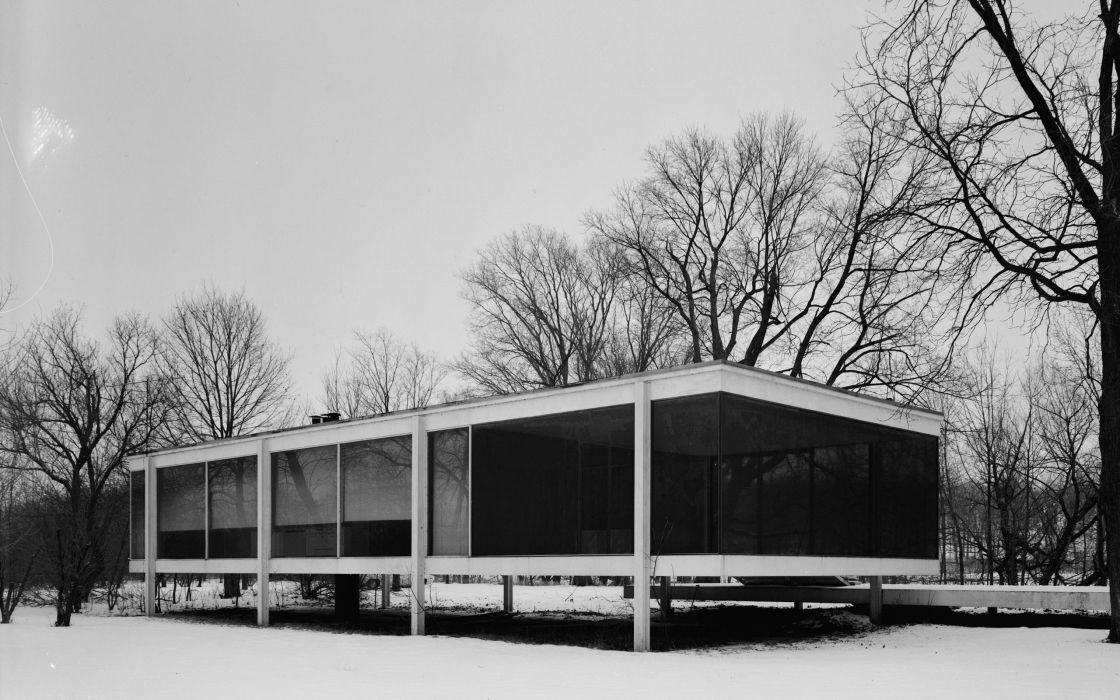 Architecture houses farmhouse farnsworth house mies van der rohe wallpaper