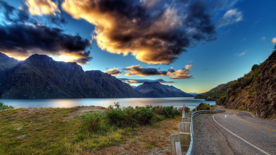 Mountains clouds landscapes lakes rivers wallpaper