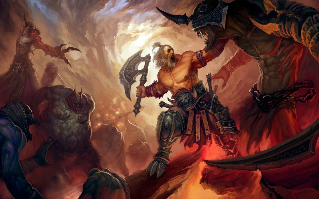 Video games monsters diablo weapons fantasy art barbarian axe artwork wallpaper