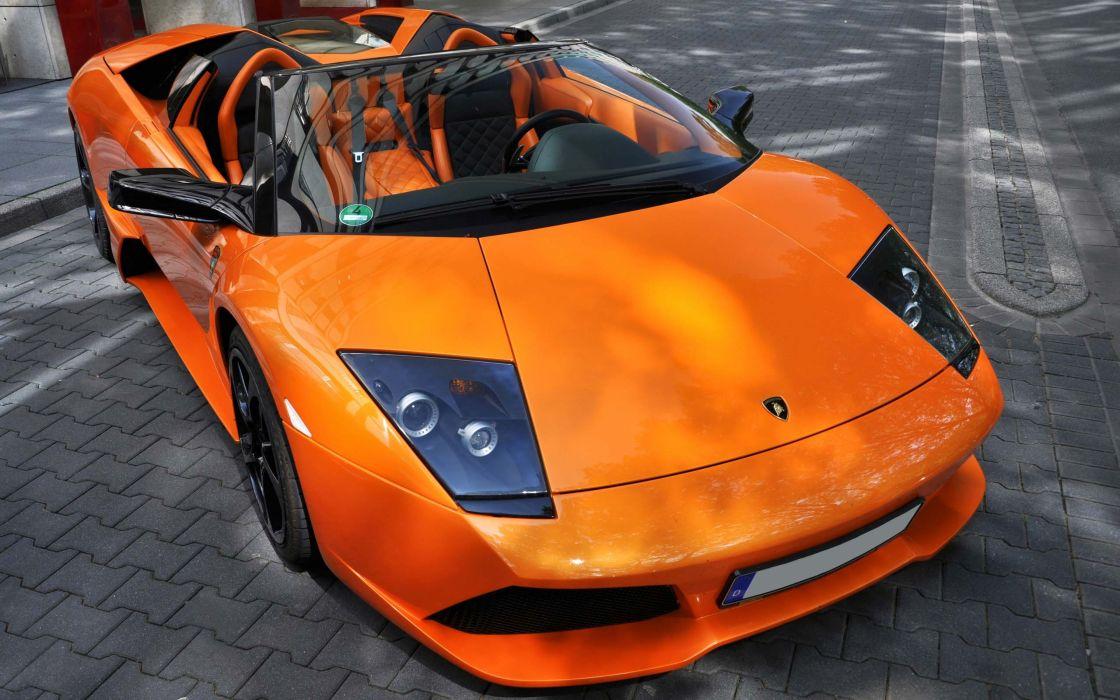 Cars lamborghini convertible orange cars wallpaper