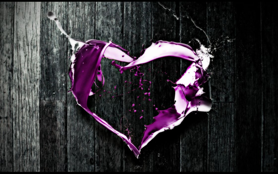 Abstract love purple digital art hearts selective coloring wallpaper