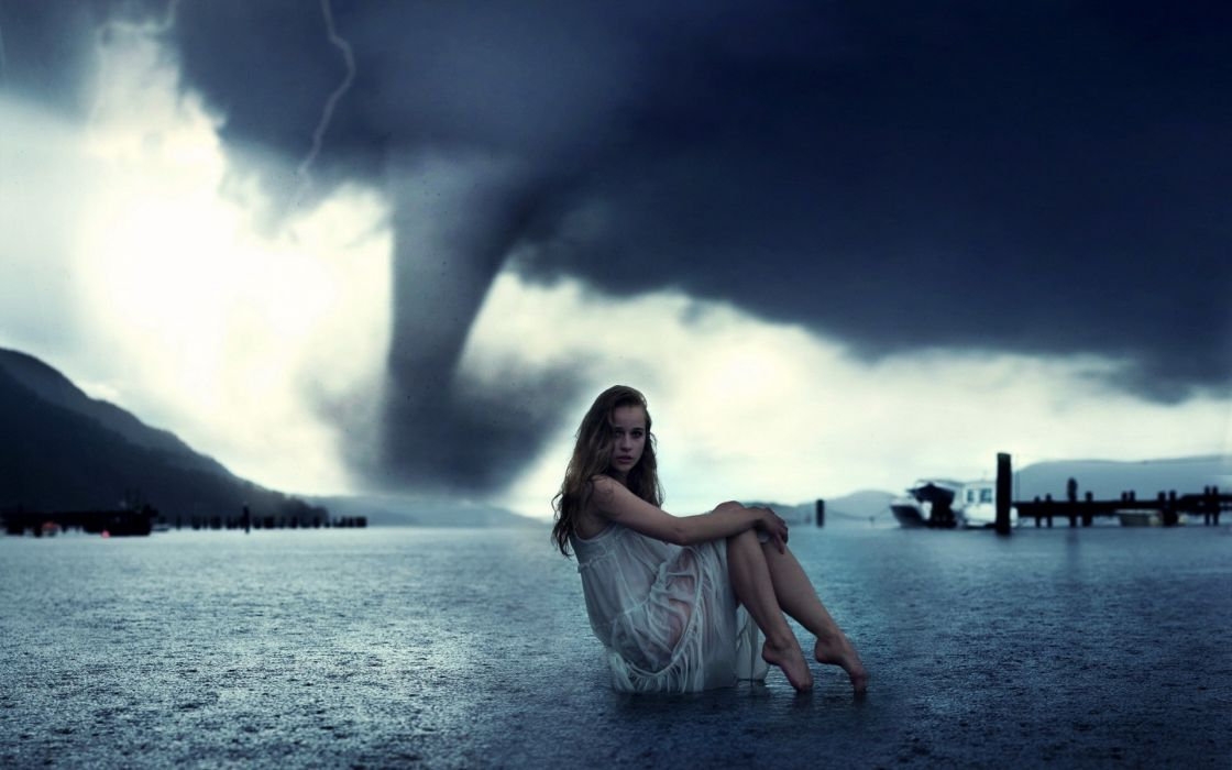 Women storm models weather tornadoes photomanipulations wallpaper
