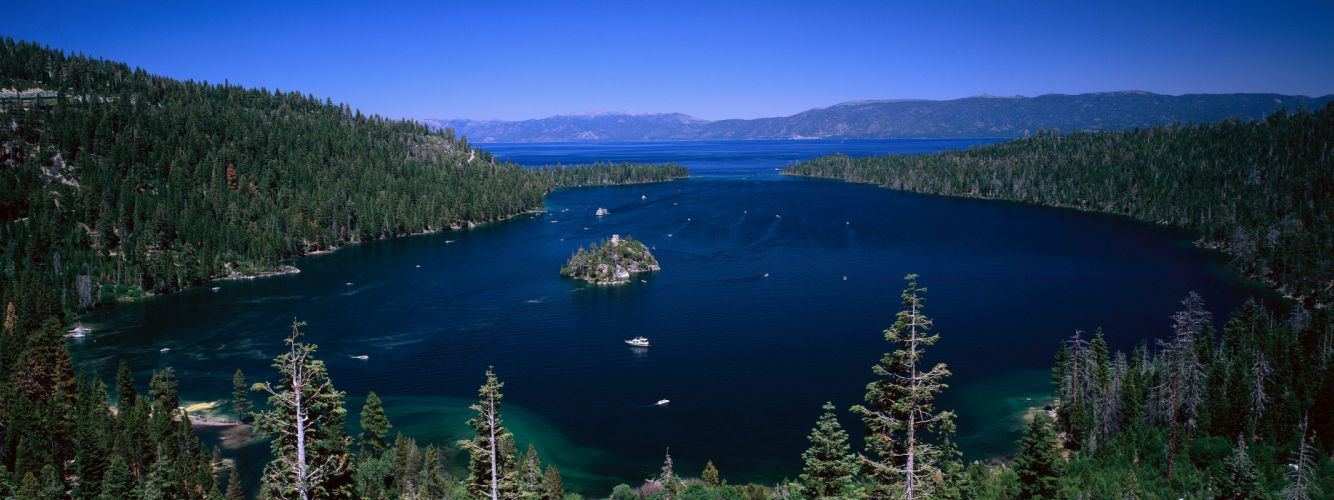 Mountains landscapes forest islands boats vehicles multiscreen lake tahoe emerald bay wallpaper