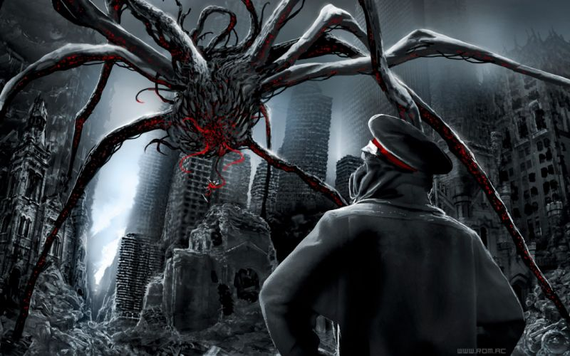 Paintings giant digital art science fiction spiders minions airbrushed romantically apocalyptic vitaly s alexius wallpaper