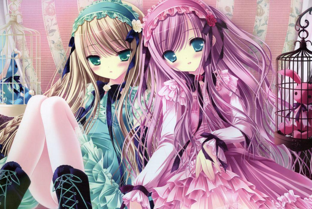 Boots blondes lolitas dress blue eyes ribbons green eyes pink hair stuffed animals anime blue dress tinkle illustrations two girls pink dress anime girls wallpaper