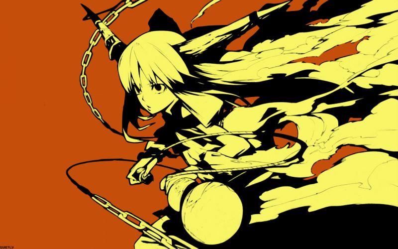Touhou demons horns oni ibuki suika anime girls wallpaper