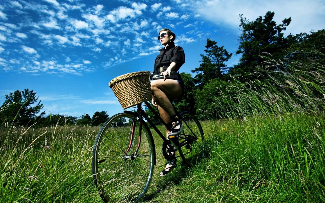 Women bicycles grass sunglasses hdr photography baskets girls in nature short dress blue skies wallpaper