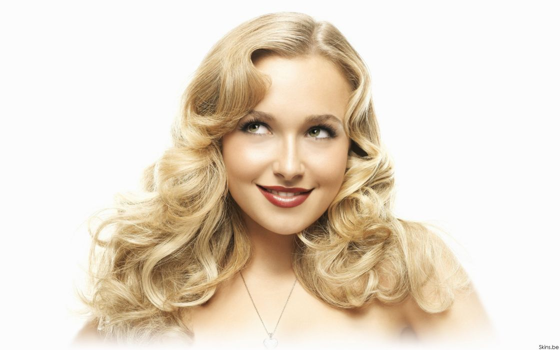 Blondes women actress hayden panettiere people celebrity smiling curly hair faces white background red lips wallpaper