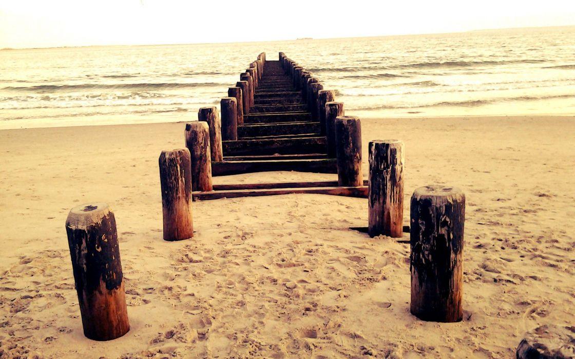 Beach sand sea wood waves path wallpaper