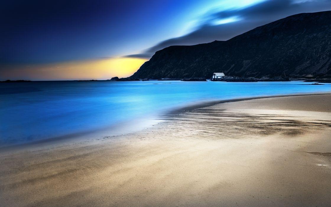 Ocean landscapes nature coast beach dawn sea hills norway calm shack wallpaper
