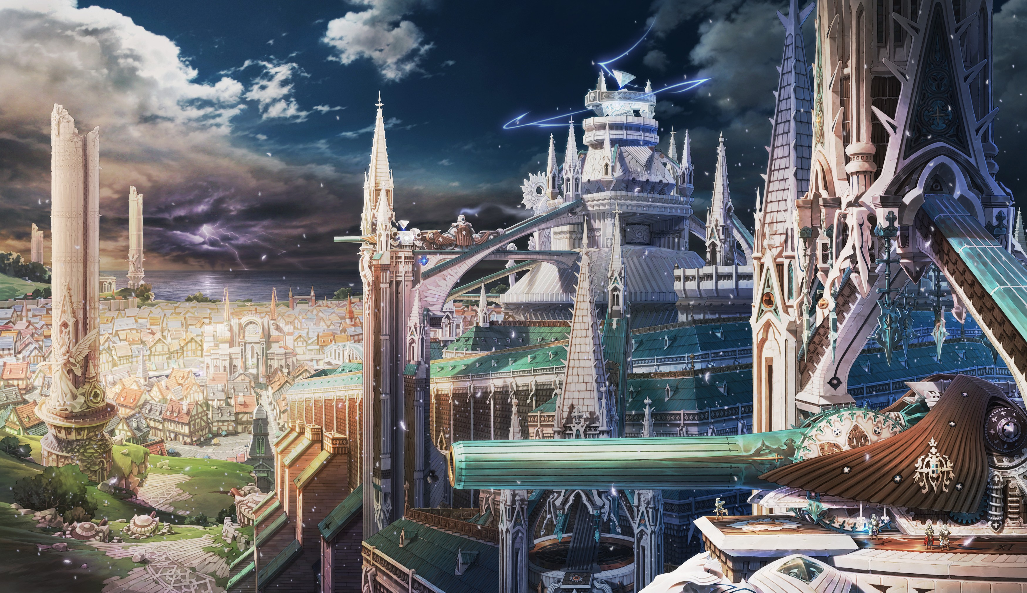 Clouds Castles Cityscapes Fantasy Art Anime Cities Wallpaper