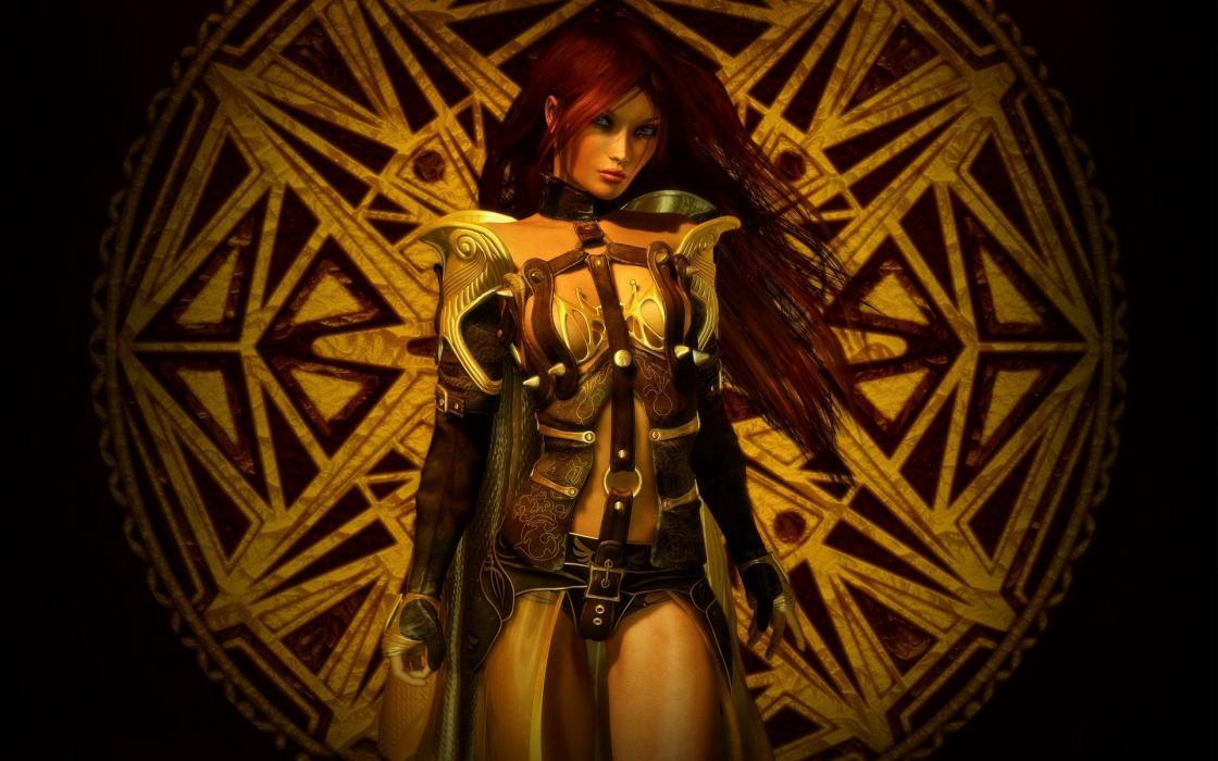 Women redheads armor artwork 3d girls wallpaper