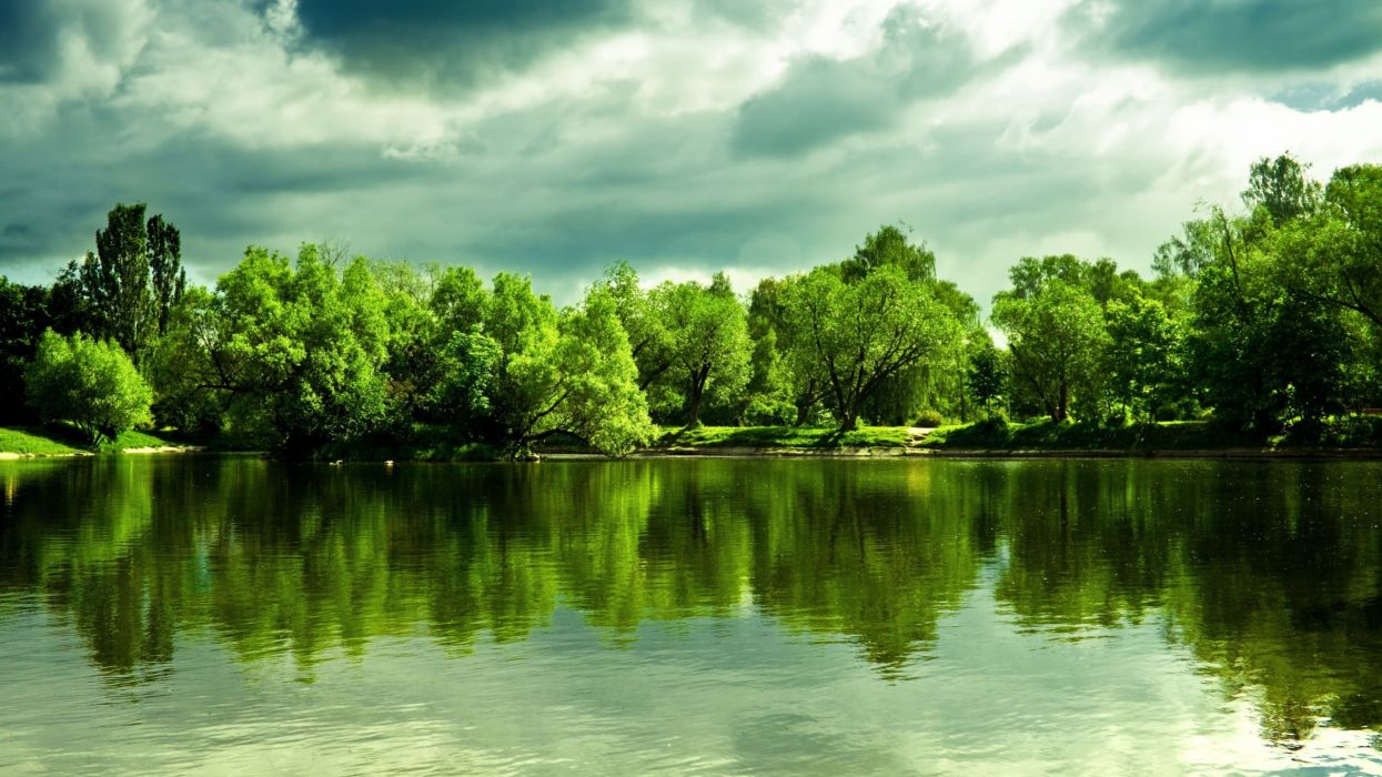 Clouds landscapes nature trees skyline forest lakes reflections wallpaper