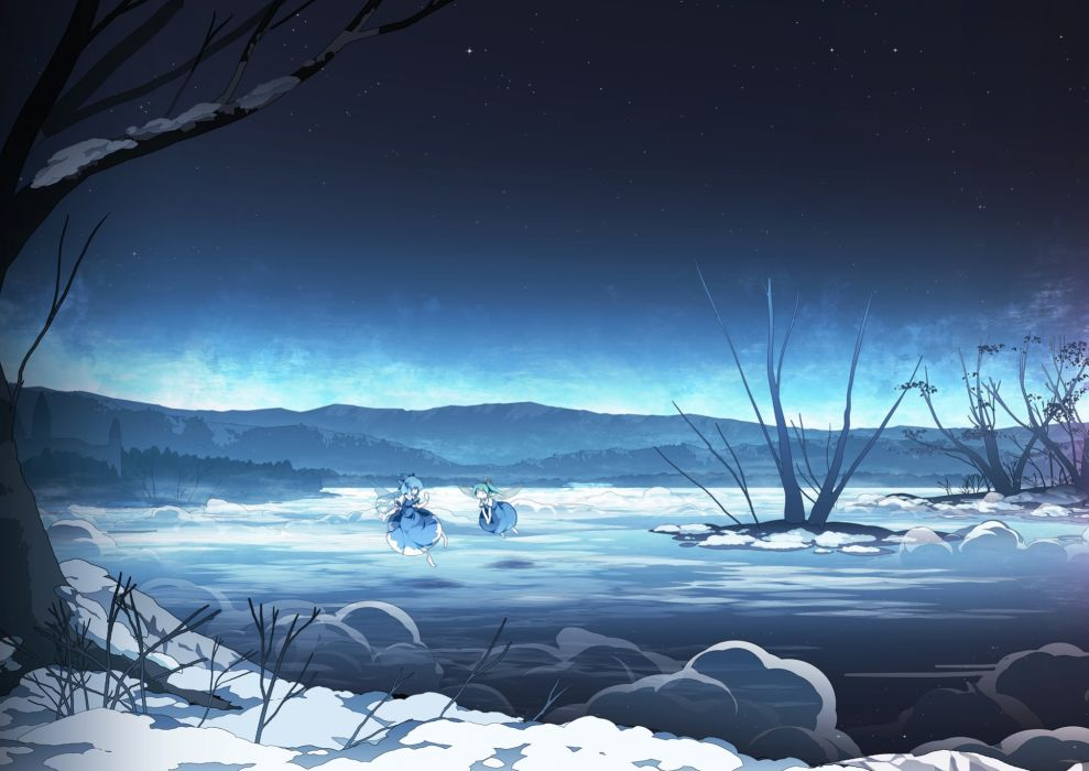 Water Video Games Mountains Nature Snow Touhou Wings Trees